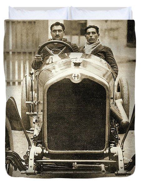 Giuseppe Campari And Teammate In An Alfa Romeo At The Targa Florio, Sicily Duvet Cover