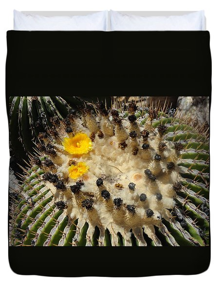 Giving Birth Barrel Cactus Yellow Flowers Duvet Cover