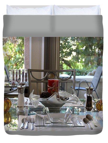 Giving Thanks In California Thanksgiving Table Duvet Cover