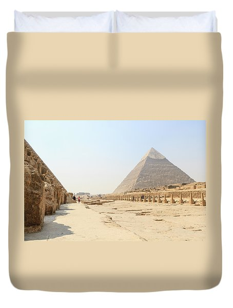 Duvet Cover featuring the photograph Giza by Silvia Bruno