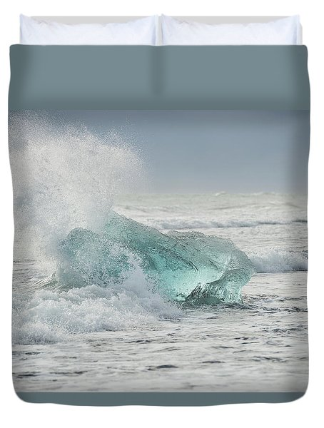 Glacial Iceberg In Beach Surf. Duvet Cover