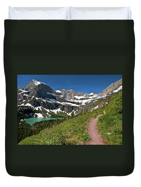 Duvet Cover featuring the photograph Glacier Backcountry Trail by Gary Lengyel