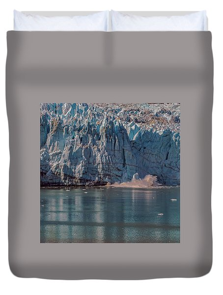 Duvet Cover featuring the photograph Glacier Bay Ice Calving by Brenda Jacobs