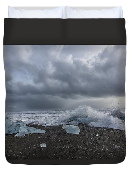 Duvet Cover featuring the tapestry - textile Glacier Ice 2 by Kathy Adams Clark