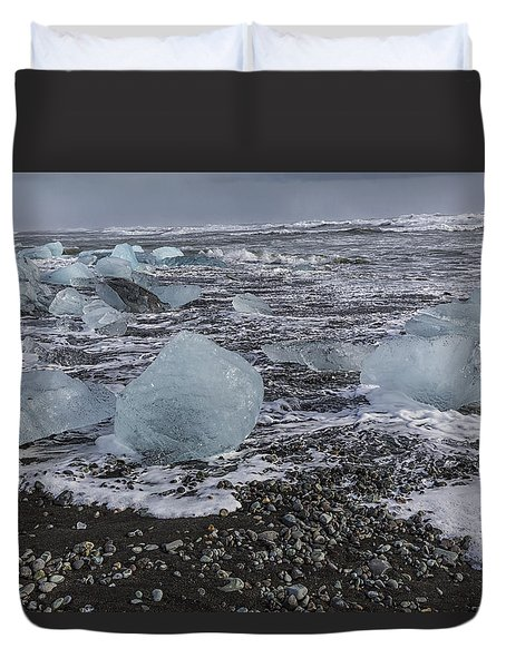 Duvet Cover featuring the tapestry - textile Glacier Ice 3 by Kathy Adams Clark