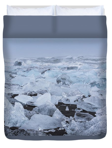 Duvet Cover featuring the tapestry - textile Glacier Ice by Kathy Adams Clark