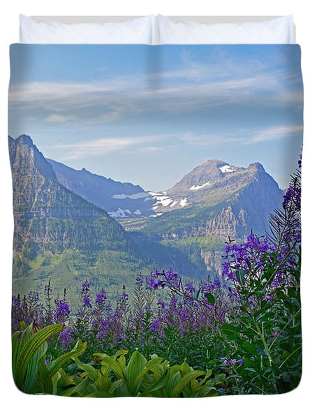 Glacier National Park Fireweed Duvet Cover