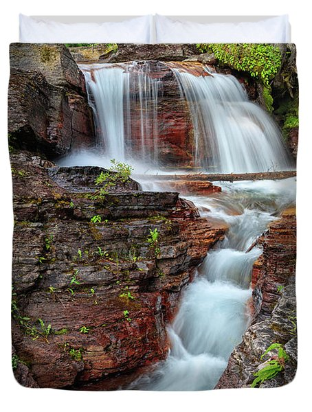 Glacier National Park Waterfall 2 Duvet Cover