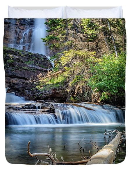 Glacier National Park Waterfall 3 Duvet Cover by Andres Leon