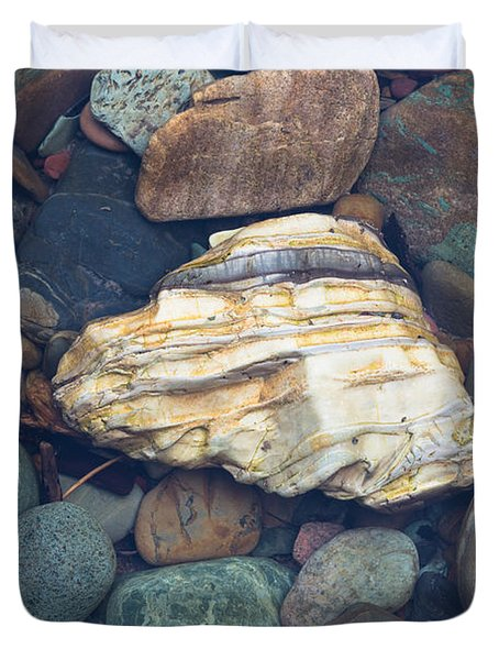 Glacier Park Creek Stones Submerged Duvet Cover