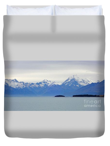 Duvet Cover featuring the photograph Glaciers Above Mountain Lake by Max Allen