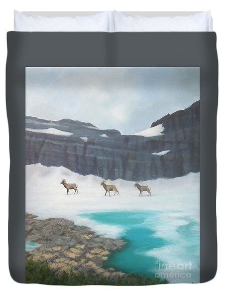 Glacier's Bighorn Hikers Duvet Cover
