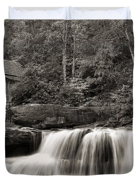 Glade Creek Grist Mill Monochrome Duvet Cover