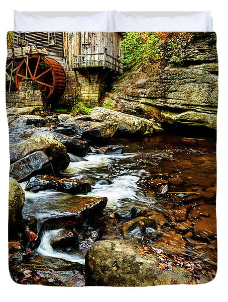 Glade Creek Grist Mill Fall  Duvet Cover