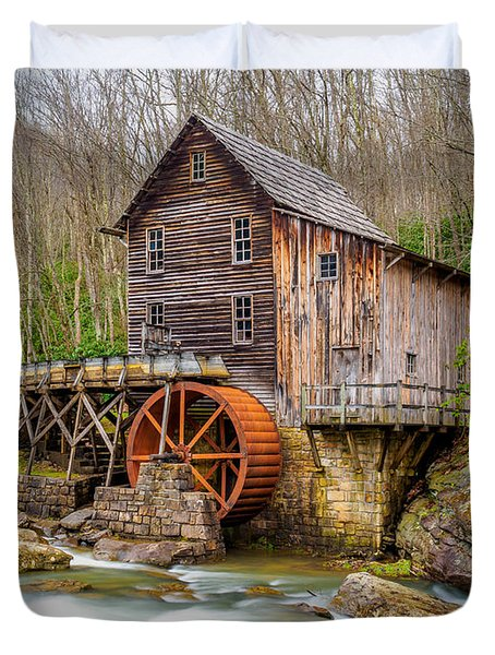 Duvet Cover featuring the photograph Glade Creek Grist Mill by Steve Zimic