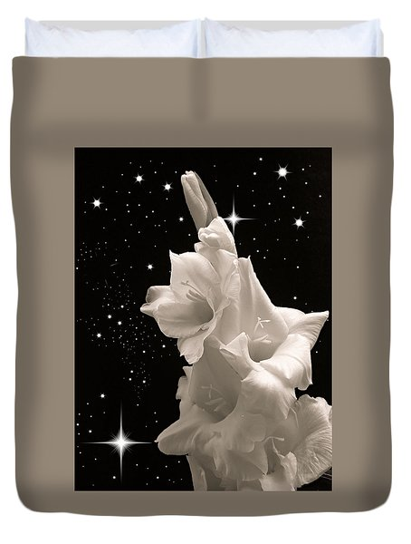 Duvet Cover featuring the photograph Gladiolas In Space by Farol Tomson