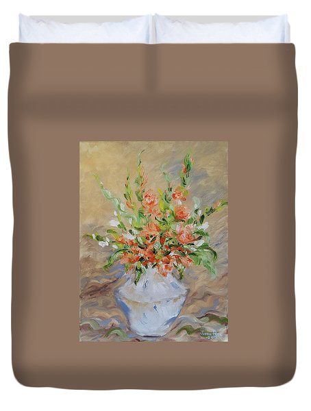 Duvet Cover featuring the painting Gladiolas by Judith Rhue