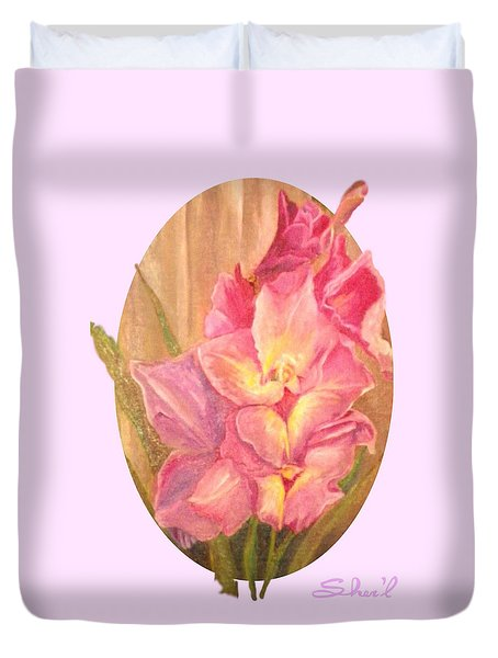 Duvet Cover featuring the painting Gladiolas Oval by Sherril Porter
