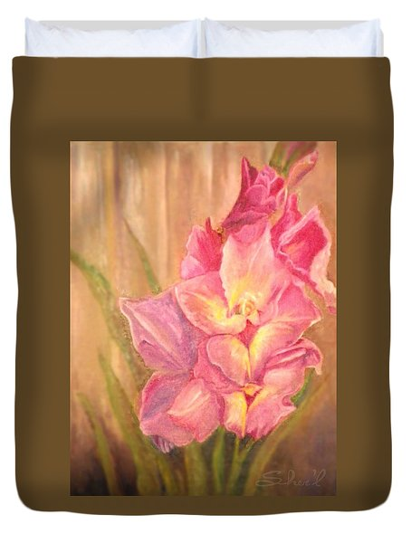 Duvet Cover featuring the painting Gladiolas by Sherril Porter
