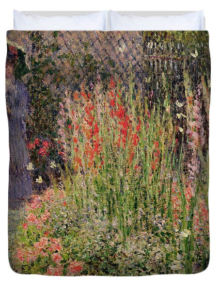 Gladioli Duvet Cover by Claude Monet