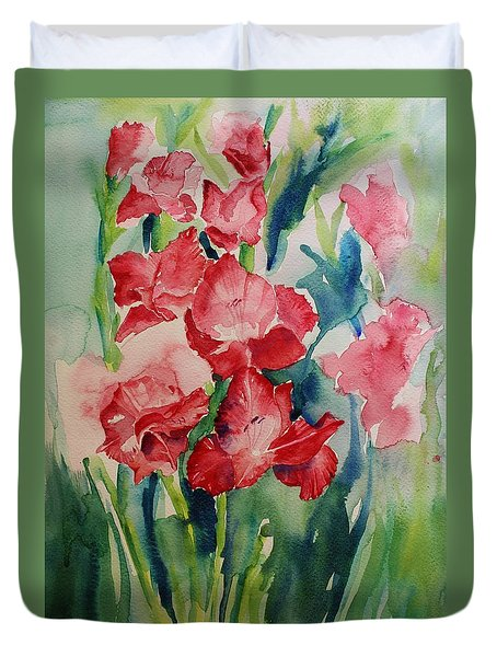 Duvet Cover featuring the painting Gladioli Still Life by Geeta Biswas