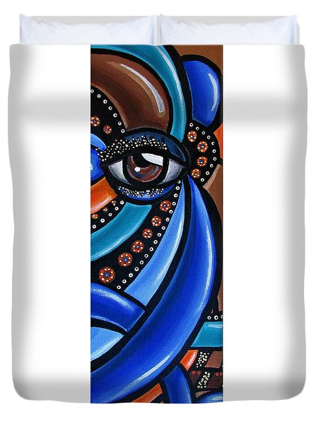 Abstract Eye Art Acrylic Eye Painting Surreal Colorful Chromatic Artwork Duvet Cover