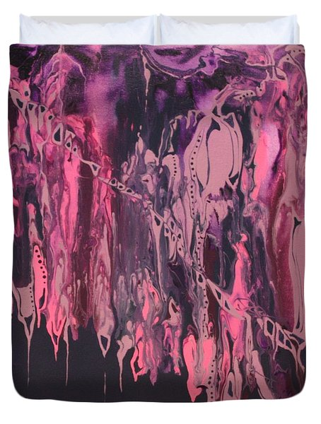 Duvet Cover featuring the painting Glamour Puss by Pat Purdy