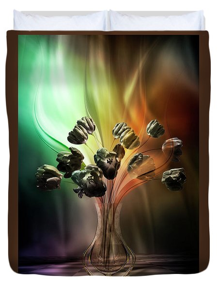 Duvet Cover featuring the digital art Glasblower's Tulips by Johnny Hildingsson