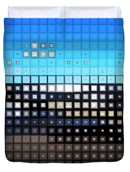 Duvet Cover featuring the digital art Glass Block Shore by Shawna Rowe