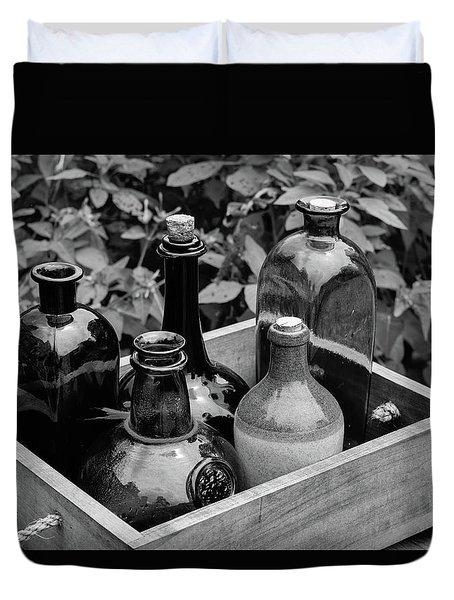 Glass Bottles In The Garden Duvet Cover