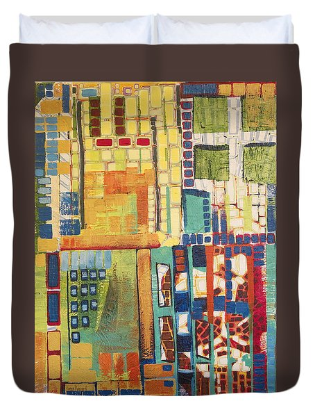 Duvet Cover featuring the painting Glass Bottom Boeing by Donna Howard