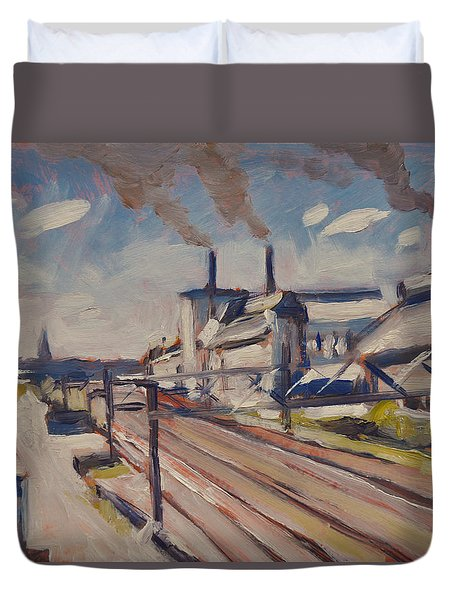 Glass Factory Along The Railway Track Duvet Cover