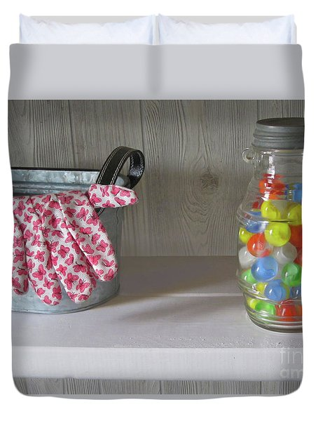 Duvet Cover featuring the photograph Glass Marbles From Childhood by Nancy Lee Moran