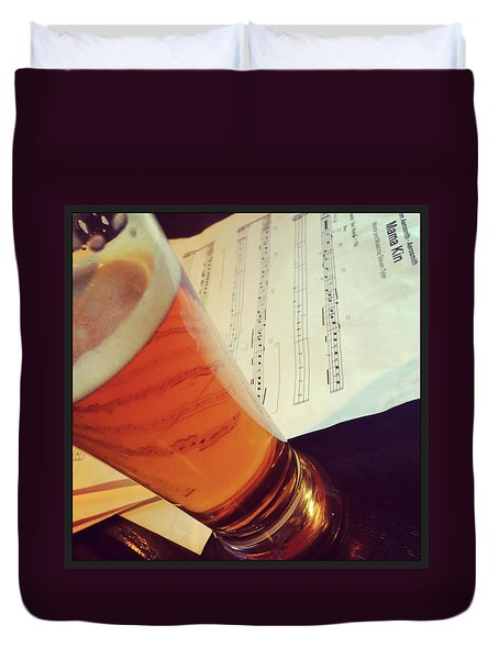 Glass Of Beer And Music Notes Duvet Cover