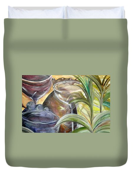 Glasses Grapes And Plants Duvet Cover