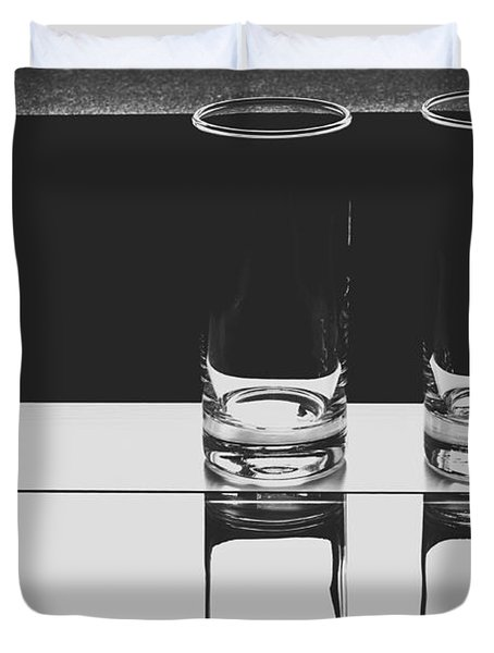 Glasses On A Table Bw Duvet Cover