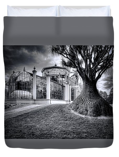 Glasshouse And Tree Duvet Cover by Wayne Sherriff