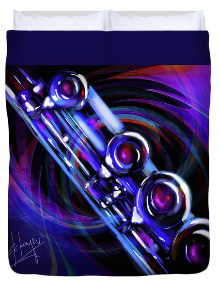 Duvet Cover featuring the painting Glassical Flute by DC Langer