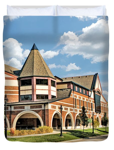 Duvet Cover featuring the painting Glen Ellyn Public Library by Christopher Arndt
