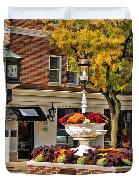 Glen Ellyn Watering Fountain Duvet Cover