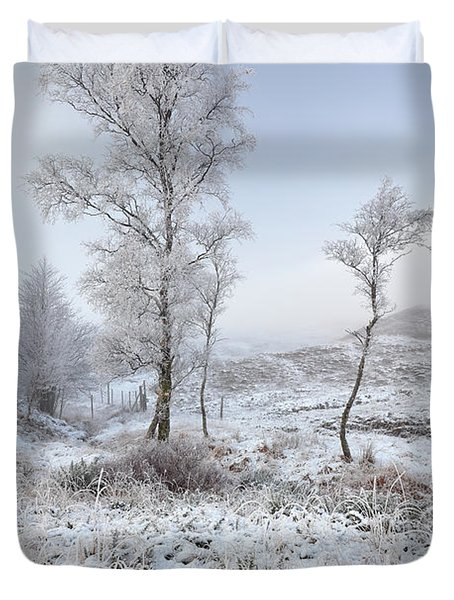 Duvet Cover featuring the photograph Glen Shiel Misty Winter Trees by Grant Glendinning