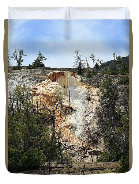 Glen Spring At Mammoth Hot Springs Upper Terraces Duvet Cover by Louise Heusinkveld