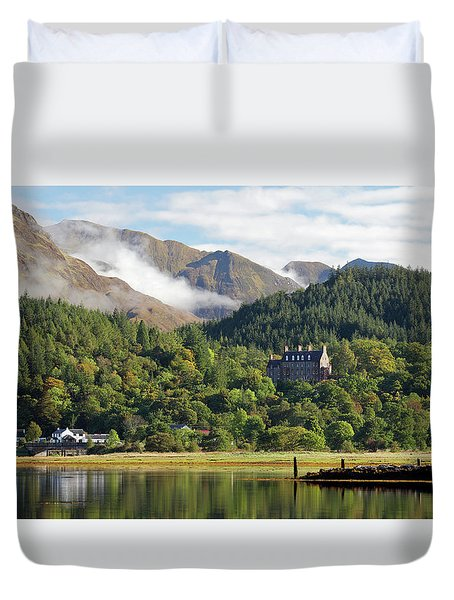 Duvet Cover featuring the photograph Glencoe House Landscape by Grant Glendinning