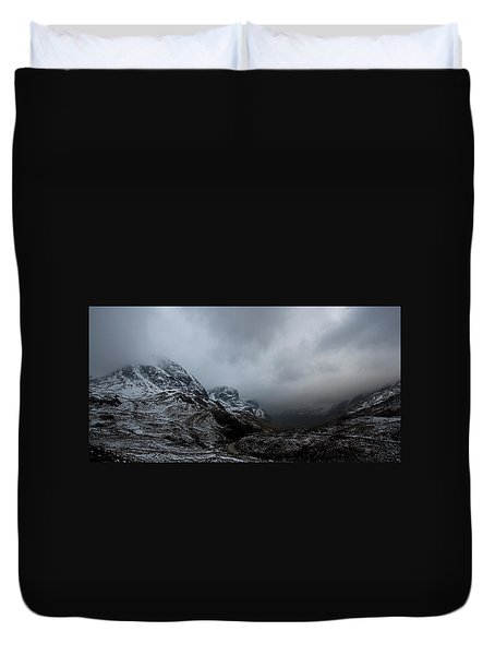 Duvet Cover featuring the digital art Glencoe - Three Sisters by Pat Speirs