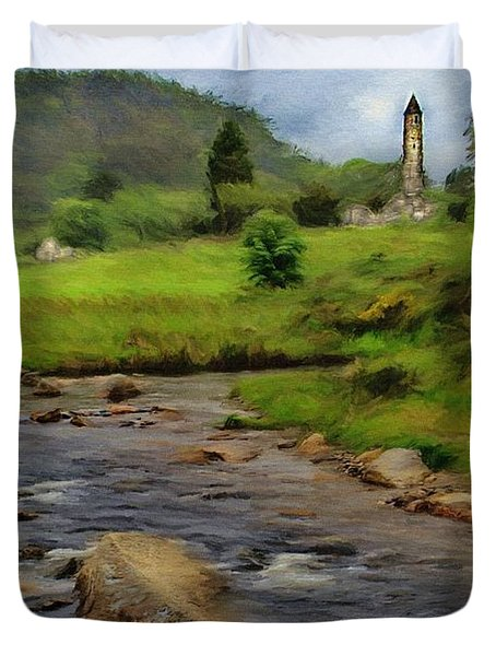 Duvet Cover featuring the painting Glendalough In The Distance by Jeff Kolker