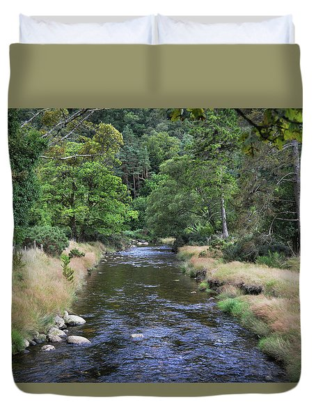 Duvet Cover featuring the photograph Glendasan River. by Terence Davis