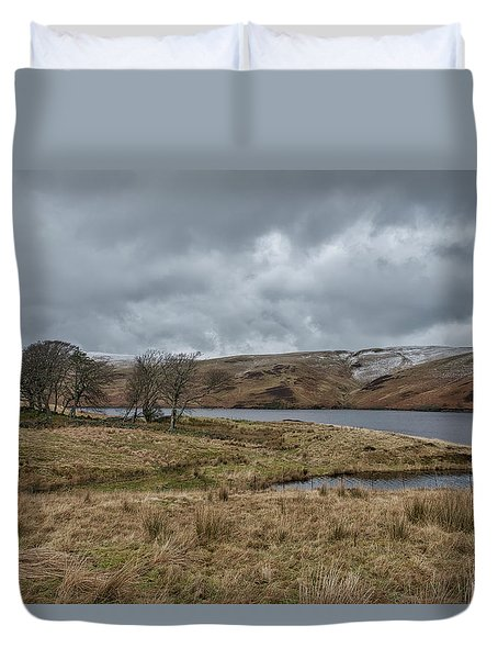 Duvet Cover featuring the photograph Glendevon Reservoir In Scotland by Jeremy Lavender Photography