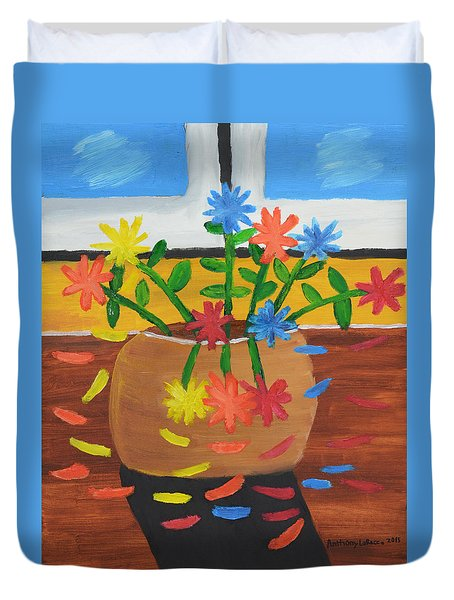 Glenns Flower Pot Duvet Cover by Artists With Autism Inc
