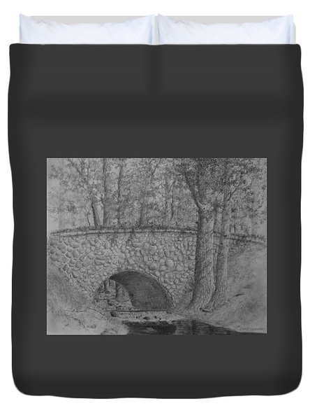 Duvet Cover featuring the drawing Glenview Bridge by Jim Hubbard
