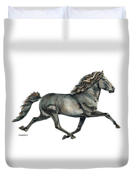 Duvet Cover featuring the painting Gletta by Shari Nees